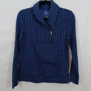 Croft Barrow Pullover Top Blue Zips Chest Up PXS